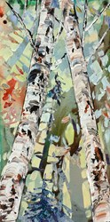 Silver Birch II by Maya Eventov - Original Painting on Box Canvas sized 12x24 inches. Available from Whitewall Galleries
